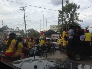 The immediate parade that ensued after the Colombia win against Ivory Coast in the World Cup
